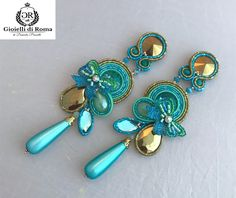 Earrings made of soutaches and the staple with the Luneville technique, with crystals and resin drop. Soutache Necklace, Tassel Earrings, Statement Earrings, Boho Jewelry, Jewelery, Fashion Jewelry, Women Jewelry, Shibori, Black Earrings