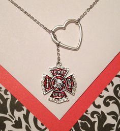 Firefighter Maltese Cross & Silver Heart Lariat Necklace (Featuring antique silver with red enamel and crystal rhinestones) | Shared by LION