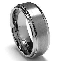 8MM High Polish / Matte Finish Men's Tungsten Ring Wedding Band   Metal Factory