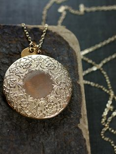 Gold Filled Locket Necklace Large Round Embossed by TforEdgar