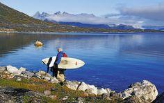 Surfing in Greenland.