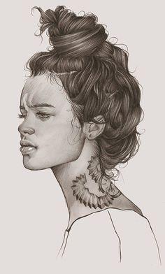 Elena Pancorbo {beautiful female head monochrome profile young woman face portrait drawing illustration #loveart} elenapancorbo.tumblr.com