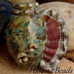 OCEAN TREASURE CONCH Shell Handmade Lampwork Focal by HavanaBeads, $30.00