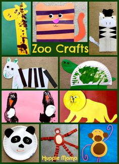 10 Zoo Animal Preschool Crafts, including monkeys, tigers, lions, giraffes, penguins, zebras, tortoises, and pandas.