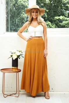 Excel Maxi Skirt in Camel | St. Frock