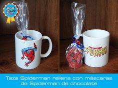 Taza de cerámica decorada con Spiderman, rellena con máscaras de Spiderman #ChocoGeek