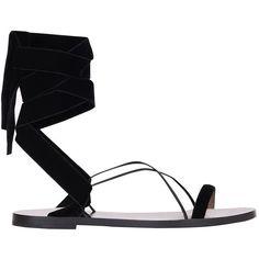 Valentino Garavani Velvet flat sandals ($555) ❤ liked on Polyvore featuring shoes, sandals, nero, summer shoes, black shoes, ribbon sandals, black sandals and velvet flat shoes