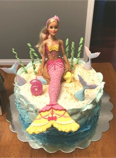 Barbie Doll Mermaid Cake The Effective Pictures We Offer You About Birthday Cake decorating A quality picture can tell you many things. You can find the most beautiful pic Barbie Birthday Cake, Mermaid Birthday Cakes, Barbie Cake, Barbie Party, Mermaid Cakes, Barbie Doll, 7th Birthday, Funny Birthday, Birthday Ideas