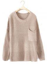 Beige Long Sleeve Pocket Embellished Pullover Sweater.