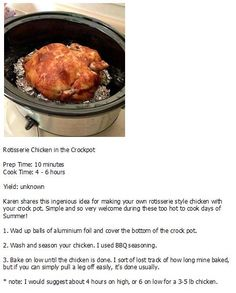 Rotisserie chicken in a crockpot Rotisserie Chicken, Crock Pot, Beef, Make It Yourself, Cooking, Hot, Recipes, Meat, Cucina