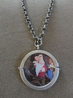 grumpy necklace disney | ... Dwarfs Grumpy Trading Card Pendant with Chain (reversible locket