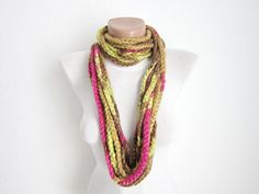 Crochet Scarf infinity Green brown pink Necklace Colorful by nurlu, $14.00