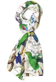 Friends will flock to compliment you! Inspired by Darwin in the late 19th and early 20th centuries, nature and art lovers began to illustrate birds as they appeared in their natural environment. In that enlightened spirit, dozens of colorful birds flutter and rest here among the flowers, vines and trees of their home-sweet-habitat. A beautiful, wrinkle-resistant scarf that drapes every so gracefully.