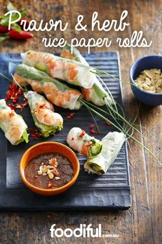 Great for summer entertaining, these seafood rice paper rolls are cool appetisers. This recipe takes 30 minutes and makes 12.