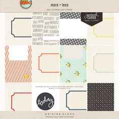 more + less journaling cards