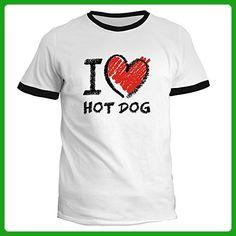 Idakoos - I love Hot Dog chalk style - Food - Ringer T-Shirt - Food and drink shirts (*Amazon Partner-Link)