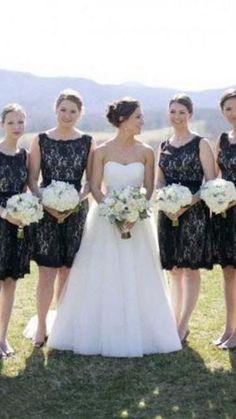 Short Bridesmaid Dresses, Wedding Dresses, Black Lace Shorts, Affordable Prom Dresses, Black Laces, Lace Wedding, Fashion, Bride Dresses, Moda