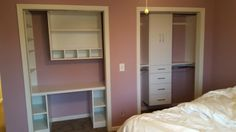Two white melamine reach-in closets. One with a desk and the other with double hang, doors, and drawers.