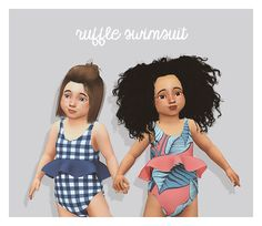 ruffle swimsuit for toddlers / new mesh / pattern + solid swatches / has morphs / around 5k (for full body which isn't bad!! considering the double sided ruffle) download @ my blog