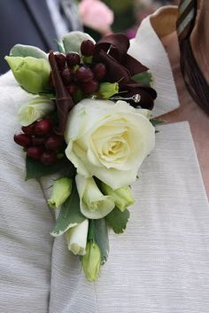 Groom's Mum's Corsage in Espresso Brown & Ivory  Brides Mum's Corsage in pale pink  Wrist Corsage in Black & Ivory