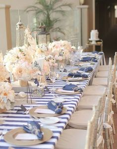 Primera comunion Marinero / fiesta inspiracion nautica Mantel a rayas azul How to plan and DIY your way to the perfect nautical themed wedding Decoration Table, Reception Decorations, Event Decor, Wedding Centerpieces, Wedding Table, Our Wedding, Dream Wedding, Ideas Bautizo, Party Fiesta