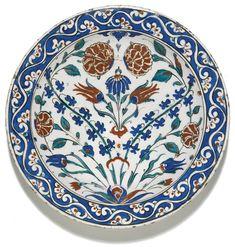 A large Iznik polychrome pottery dish, Turkey, circa 1580