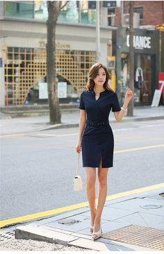 business clothes Picture - More Detailed Picture about Summer Women Dress Slim Fashion Ladies Office Dress Work Wear Female OL Style Short Sleeve Vest Office Dresses, Office Outfits, Work Dresses For Women, Clothes For Women, Business Outfits, Business Clothes, Clothes Pictures, Elegant Outfit, Work Attire