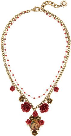 Dolce & Gabbana. Glass Pearl Virgin Mary Necklace