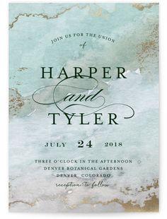 Gilded Shore Foil-Pressed Wedding Invitations