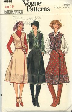 Skirt Patterns- Skirt and Vest Sewing Pattern Vogue 9555 Vintage Misses Vest and Asymetrical Skirt - RARE 1970's Size 16 UNCUT