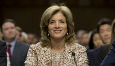 Caroline Kennedy, US ambassador to Japan, in pearl earrings.