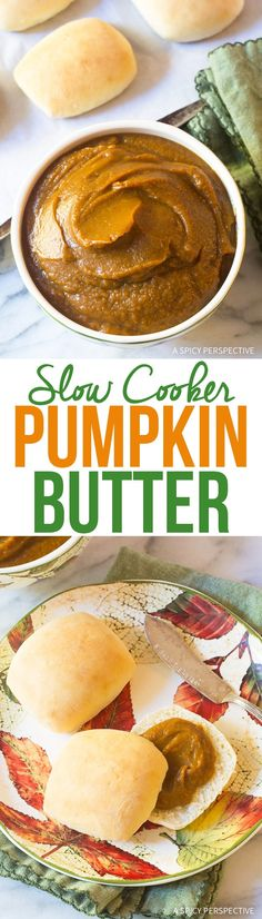 Slow Cooker Pumpkin Butter Recipe - A simple 6-ingredient spread that tastes delicious on warm rolls, and peanut butter sandwiches!  via @spicyperspectiv