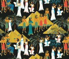 I LOVE this fabric.  I need to incorporate this into my dining room….. Ancient Egyptians  fabric by kociara on Spoonflower - custom fabric