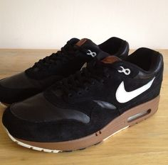 9b5414300ef Nike Air Max 1 Premium Black Leather Suede Size UK 9