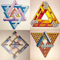 #impossible #isometric #geometry #symmetry #penrose #triangle #opticalillusion #mathart #regolo54 #escher