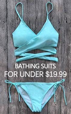 From $11.99 You are the sunshine on the beach Tiffany Blue Swimwear Bikini Set Top & Bottom