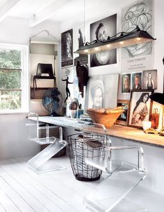 Really awesome modern office! Love the chairs, the decor, & the modern+rustic feel.