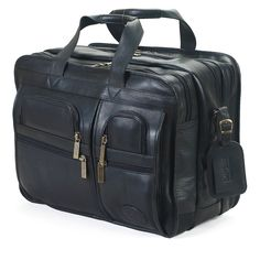 ClaireChase Personalized X-Wide Executive Computer Briefcase - Black - 154XL-BLACK