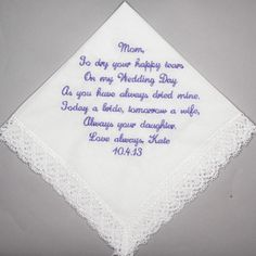 Gift for Mother of the Bride Embroidered White by InspiredStitches, $23.00