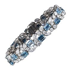 OSCAR HEYMAN Aquamarine and Diamond Bracelet.