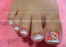 unhas dos pés decoradas com flores passo a passo - Pesquisa Google