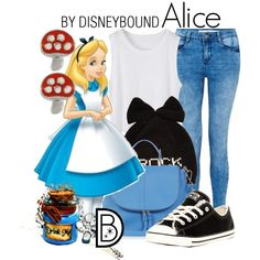 Alice by leslieakay on Polyvore featuring Converse, Oasis, Betsey Johnson and Disney