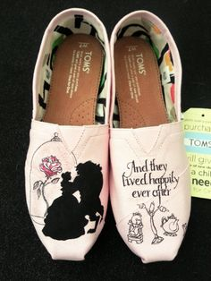 A perfect addition for any Disney Beauty and the Beast Fans!  This listing is for the Beauty and the Beast hand painted shoes. The shoes are available in Womens or Mens Generic Faded Glory canvas slip-ons or Vans/Toms/Converse/keds. The generic shoes come in WHOLE SIZES ONLY ranging from size 6-11:) If you would like the artwork on Vans, Toms, Converse, Keds, etc there is an additional $50 fee to cover the cost of those shoes. Please specify which type of shoes in the style section and what…