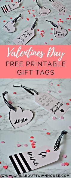 Free printable Valentines Day gift tags. Super simple and cute, just download, print and enjoy!