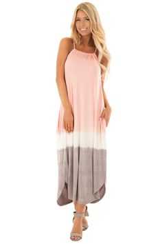 Blush Ombre Tie Dye Halter Dress with Side Pockets
