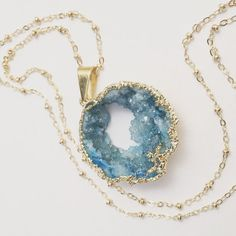 Long Aqua Druzy Necklace Large Turquoise Natural by chipandchisel