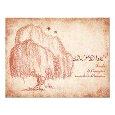 Shop Autumn Willow Tree Wedding Reception Card created by wasootch. Wedding Reception Cards, Tree Wedding Invitations, Anniversary Invitations, Bridal Shower Invitations, Custom Invitations, 9th Anniversary, Wedding Ideas, Wedding Stationary