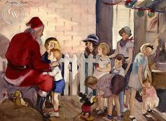 Visit to Santa, 1936, California art by Dorothea Cooke (Gramatky). HD giclee art prints for sale at CaliforniaWatercolor.com - original California paintings, & premium giclee prints for sale