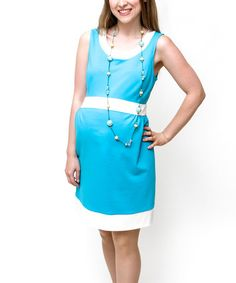 Take a look at this Turquoise & White Corrine Mod Maternity Dress by Debbi O. Maternity on #zulily today!