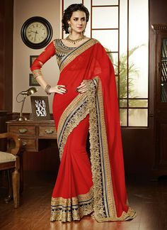 Red Georgette and Net Designer Saree  Email - support@ethnicoutfits.com Call - +918140714515 What's app/ Viber - +918141377746